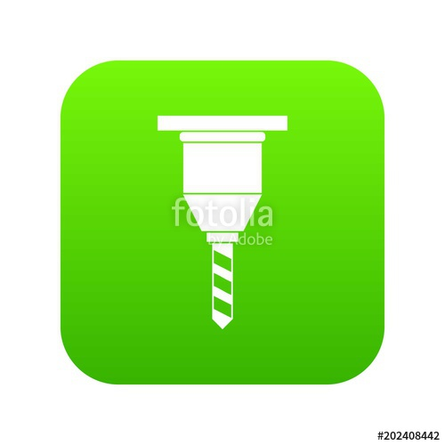 500x500 Drill Bit Icon Digital Green For Any Design Isolated On White