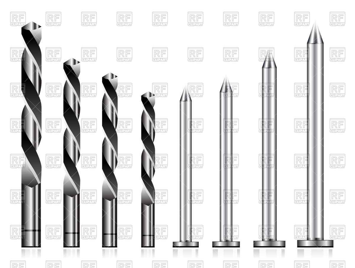 1200x905 Realistic Drill Bit And Steel Nail Set Vector Image Vector