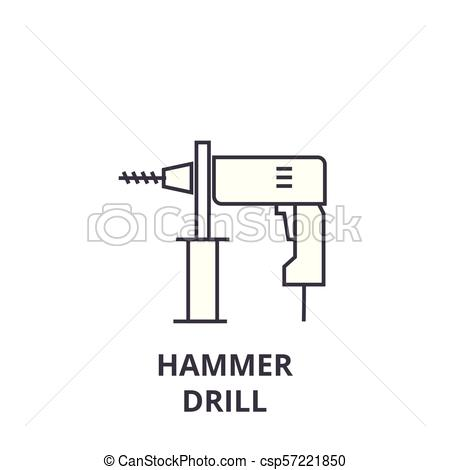450x470 Hammer Drill Vector Line Icon, Sign, Illustration On Background