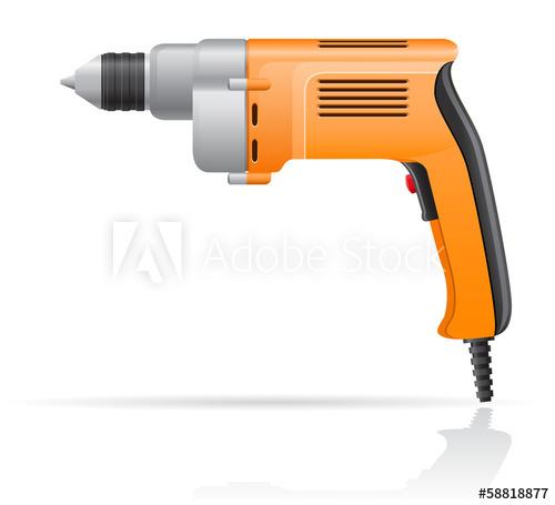500x455 Electric Drill Vector Illustration