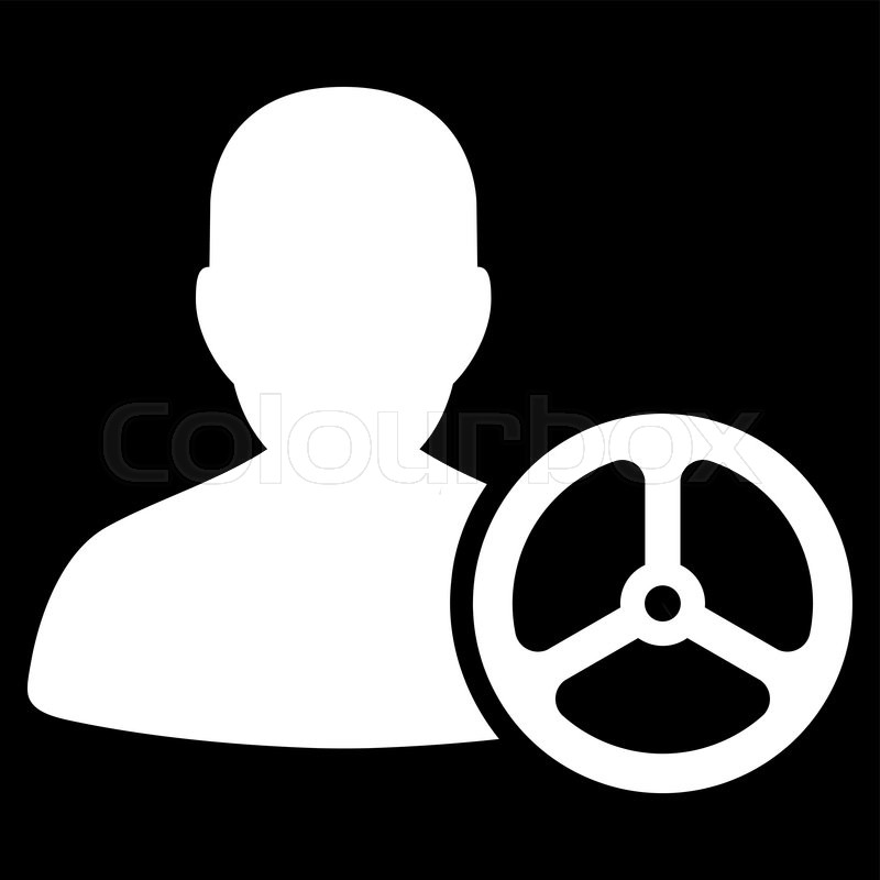 800x800 Driver Icon From Commerce Set. Vector Style Flat Symbol, White