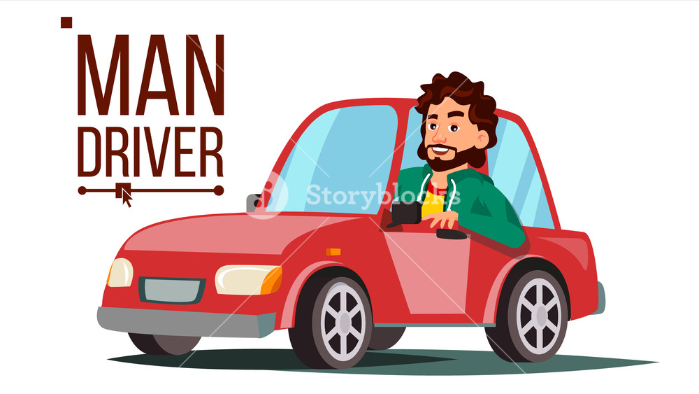 1000x563 Man Driver Vector. Sitting In Modern Automobile. Buy A New Car