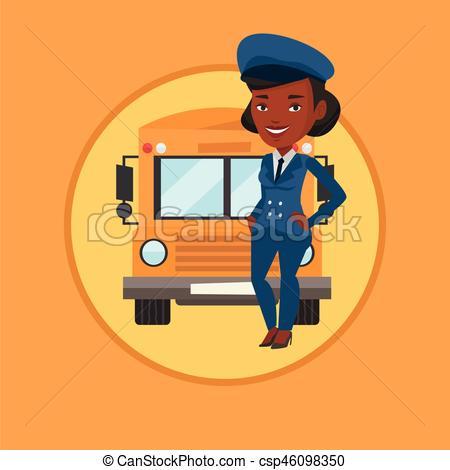 450x470 School Bus Driver Vector Illustration. African American School