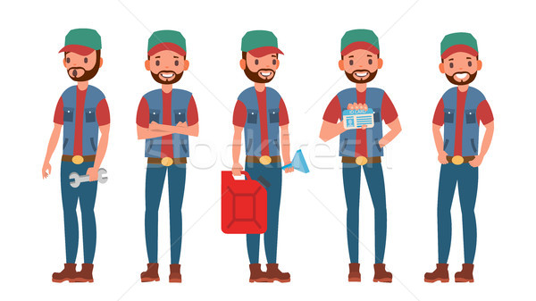 600x337 Truck Driver Character Vector. Man. Classic Driver. Isolated On
