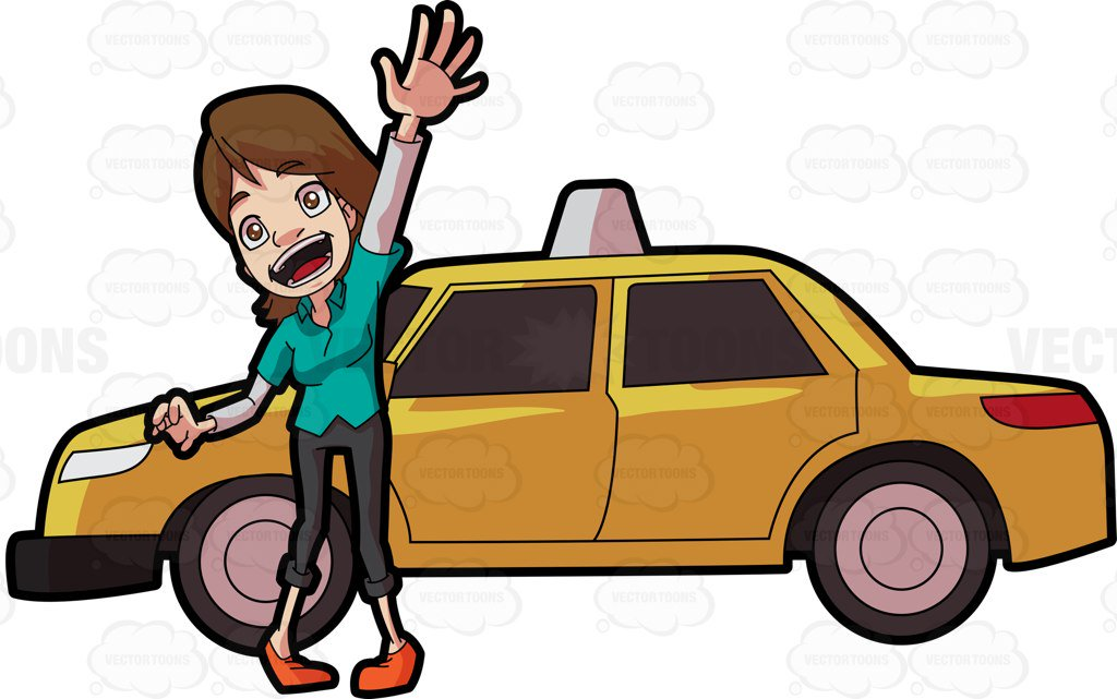1024x641 A Friendly Female Taxi Driver Clipart By Vector Toons