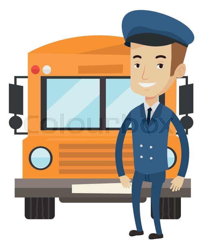 650x800 Caucasian Happy School Bus Driver Standing In Front Of Yellow Bus