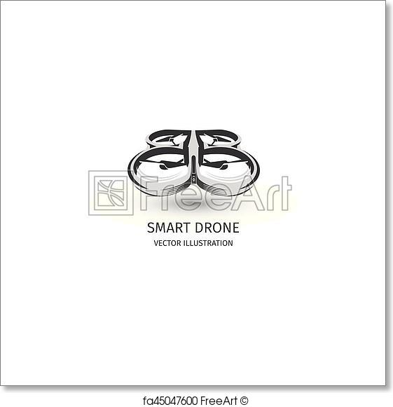 561x581 Free Art Print Of Isolated Rc Drone Logo On White. Uav Technology