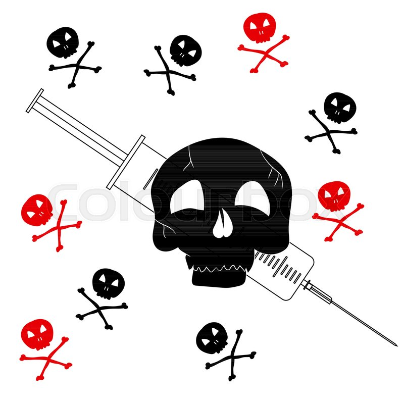 800x800 Pattern With The Image Of Jolly Roger With A Syringe. Precaution