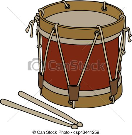 450x460 Old Military Drum. Hand Drawing Of An Old Dark Red Wooden Drum.