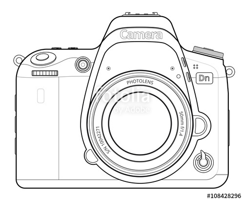 500x411 Dslr Camera Outline Stock Image And Royalty Free Vector Files On