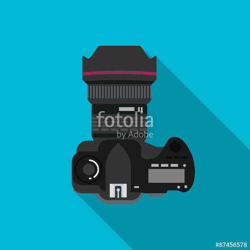 500x500 Dslr Camera Top View Icon Flat Design Vector Stock Image And