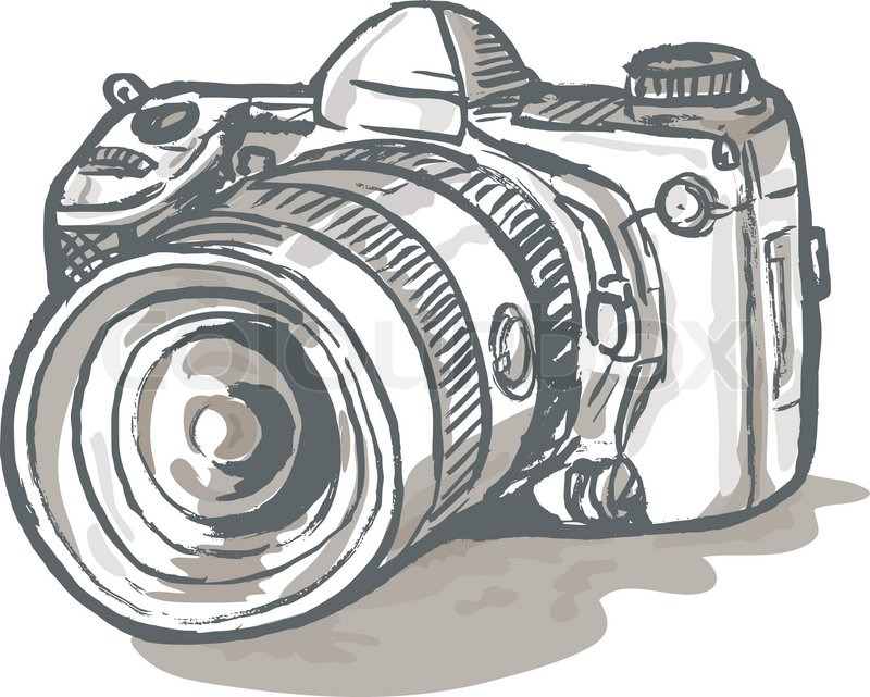 800x641 Dslr Camera Drawing Stock Vector Colourbox
