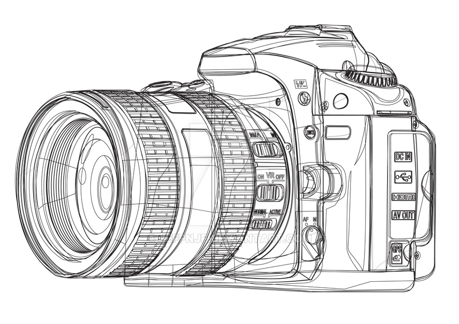 900x636 Collection Of Dslr Camera Drawing High Quality, Free