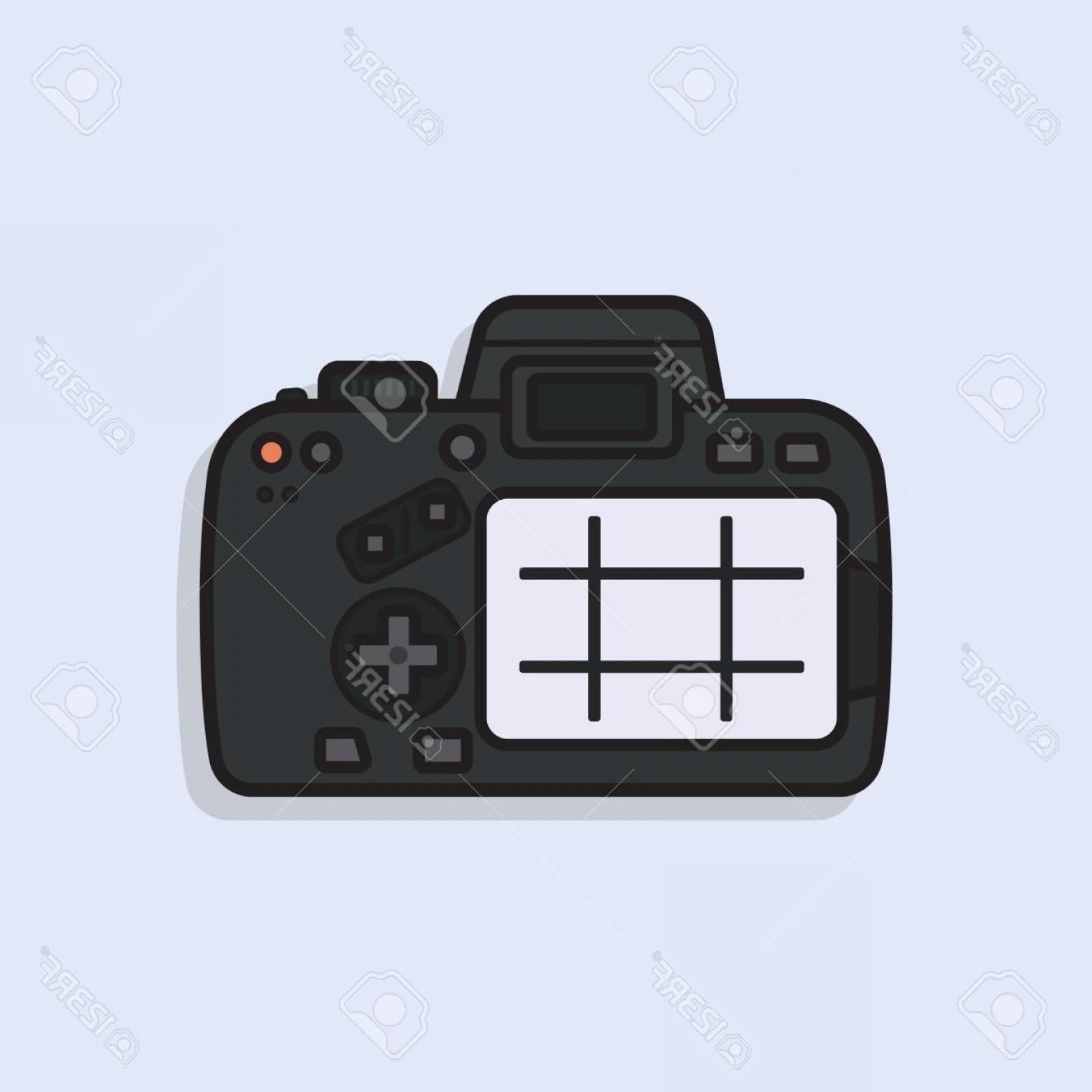 1560x1560 Photostock Vector Dslr Camera Vector Illustration Back Side With