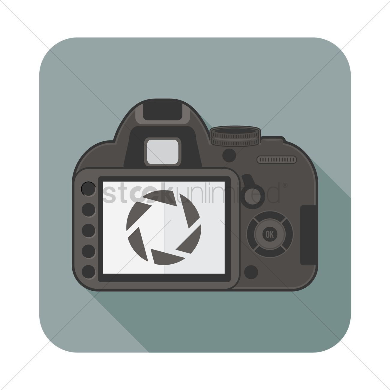 1300x1300 Back View Of Dslr Camera Vector Image