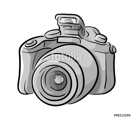 500x447 Dslr Camera, A Hand Drawn Vector Illustration Of A Dslr Camera