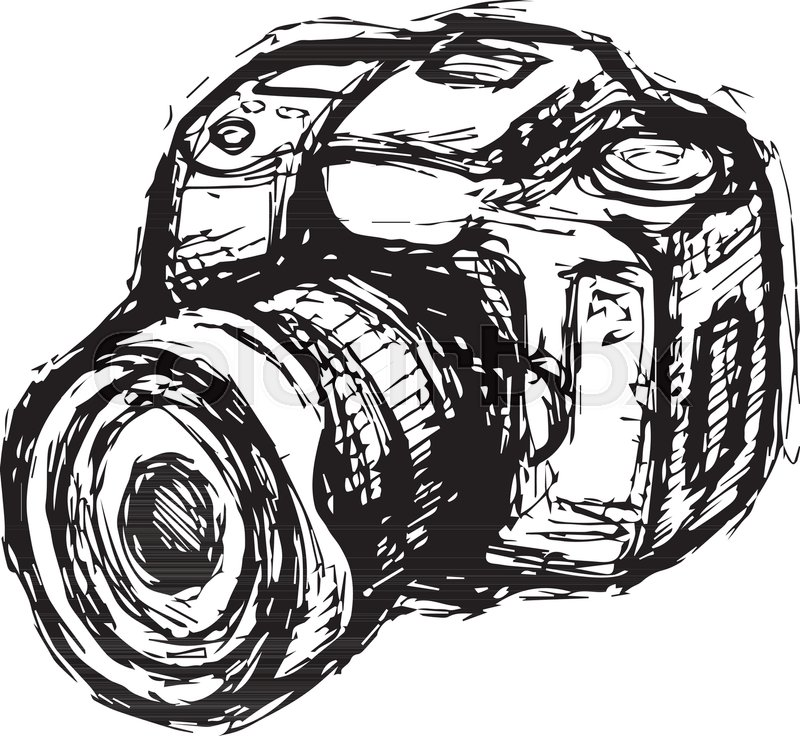 800x736 Hand Drawn Illustration Sketch Of Dslr Photo Camera Stock Vector
