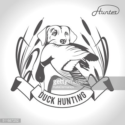 416x416 Vector Dog With Duck In His Premium Clipart