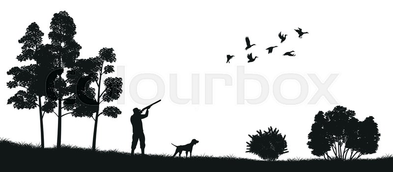 800x351 Black Silhouette Of A Hunter With A Dog In The Forest. Duck