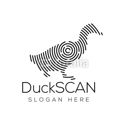 400x400 Duck Scan Technology Logo Vector Element. Animal Technology Logo