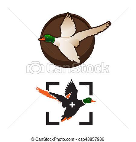 450x470 Wild Ducks Fly. Duck Hunting Mallard Duck Flies. Icon Logo. Vector