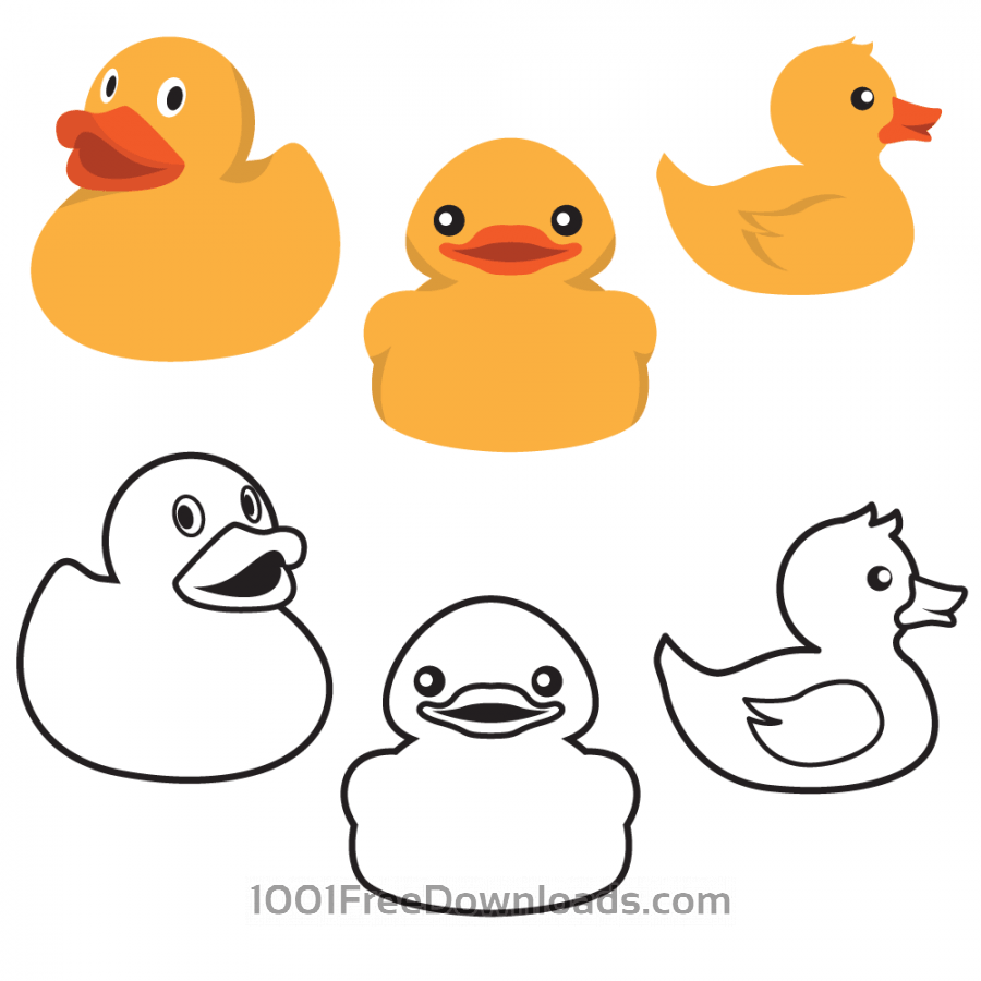 900x900 Free Vectors Rubber Duck Colors And Outlines Abstract