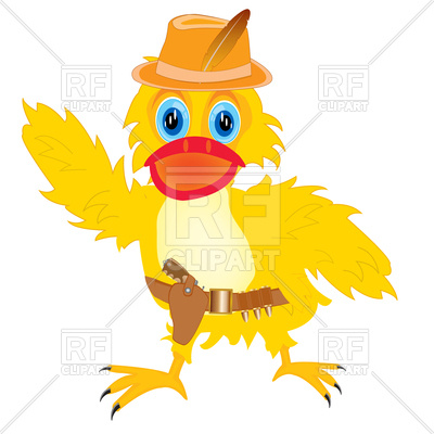 400x400 Cartoon Duck In Hat With Gun Vector Image Vector Artwork Of
