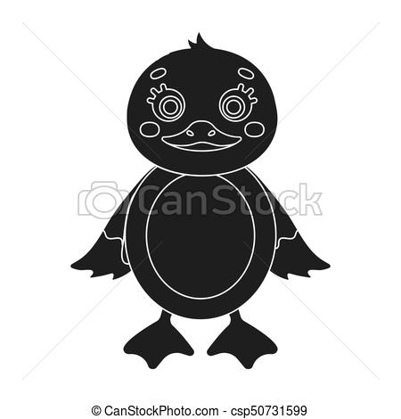 450x470 Duckling, Single Icon In Black Style.duckling, Vector Symbol Stock