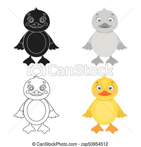 450x470 Duckling, Single Icon In Cartoon Style.duckling, Vector Symbol