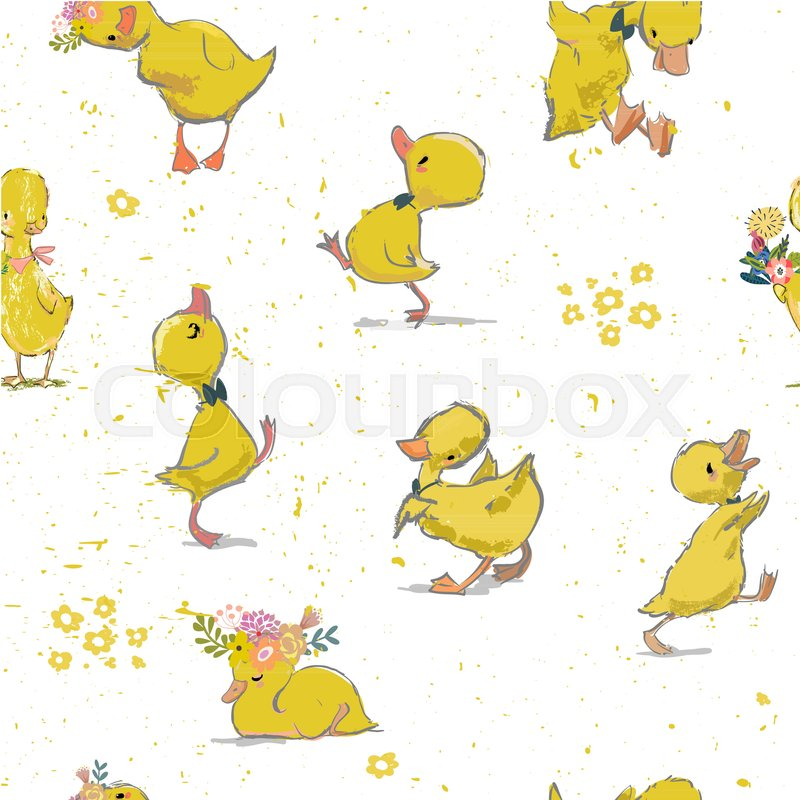 800x800 Seamless Pattern With Little Duckling . Vector Illustration