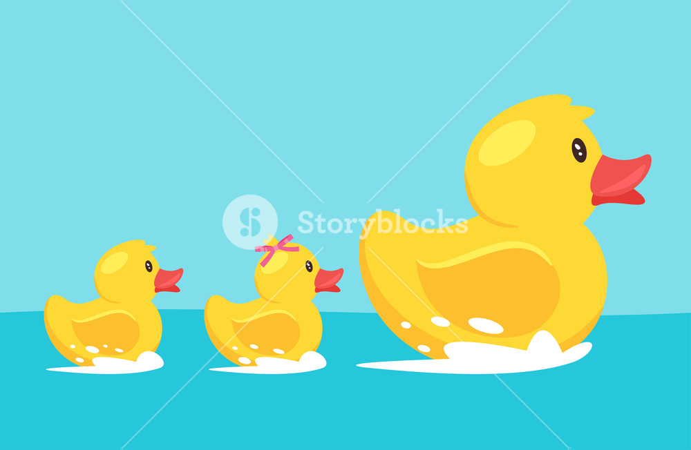 1000x652 Vector Cartoon Style Illustration Of Yellow Rubber Duck With