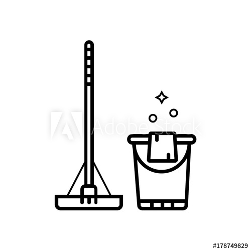 500x500 Swab And Bucket With Duster Vector Illustration For Floor Cleani
