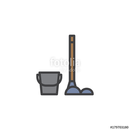 500x500 Bucket And Mop With Duster Filled Outline Icon, Line Vector Sign