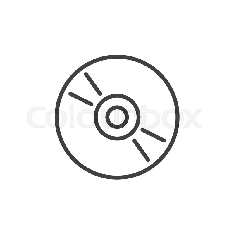 800x800 Cd, Dvd Compact Disc Line Icon, Outline Vector Sign, Linear Style