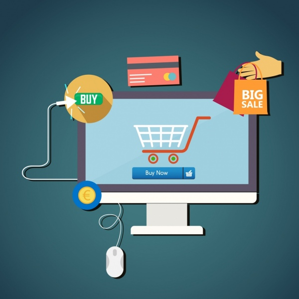 600x600 Ecommerce Promotion Banner Computer Cart Icons Flat Design Free