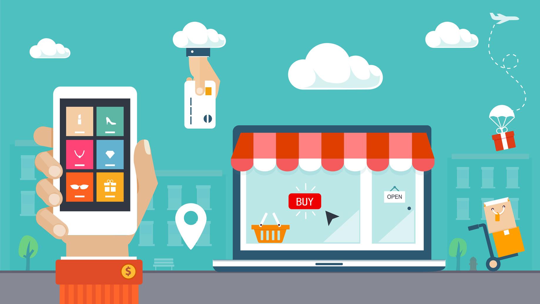 1838x1034 Flat Design Vector Illustration. E Commerce, Shopping Amp Delivery