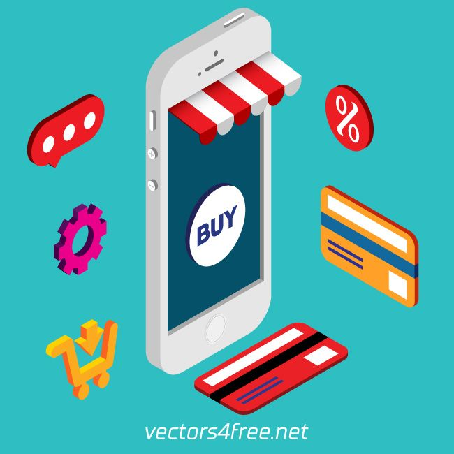 650x650 Get Free Isometric Mobile Online Shopping Vector, Flat 3d Design