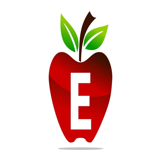 640x640 Apple Letter E Logo Design Template Vector, Design, Eating, Food