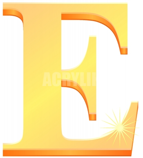 488x540 Gold Letter E In 3d Vector