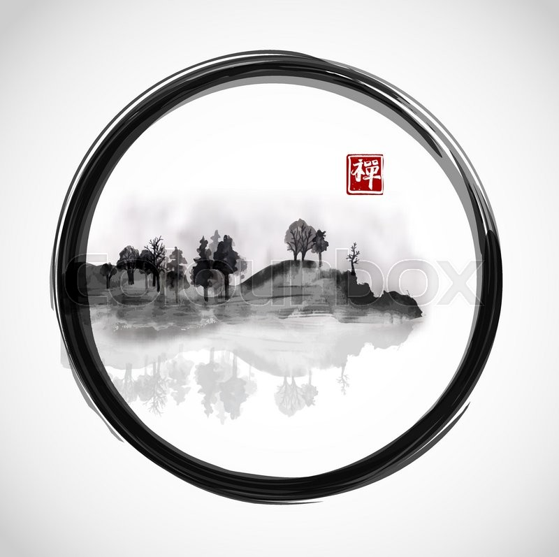 800x797 Island With Trees In Black Enso Zen Circle. Traditional Japanese