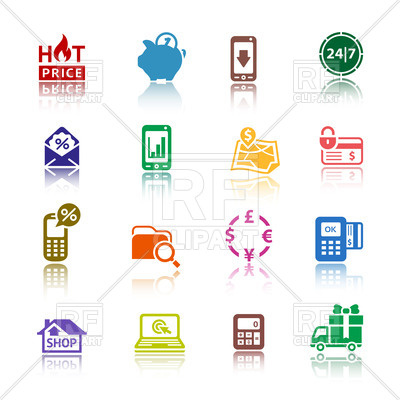 400x400 Banking And E Commerce Icons Vector Image Vector Artwork Of