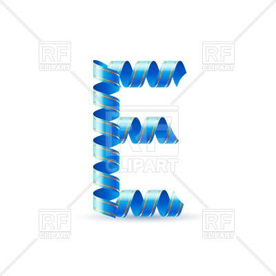 400x400 Letter E Made Of Blue Paper Streamer Vector Image Vector Artwork