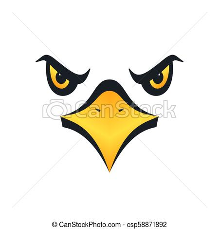 450x470 Eagle Face, Vector Illustration. Sharp Eyed Eagle Face On White