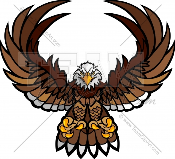 590x537 Eagle Mascot Clipart With Spread Wings And Talons Vector File