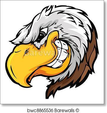 362x382 Art Print Of Eagle Mascot Head With Sly Expressi Barewalls