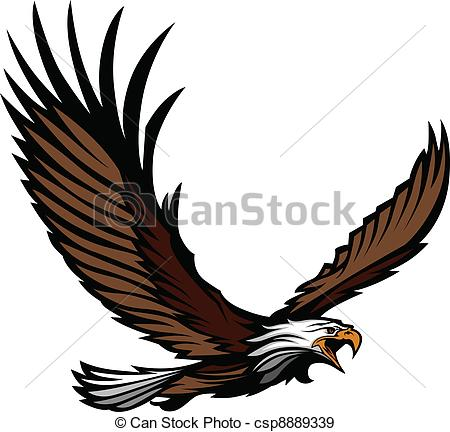 450x432 Eagle Mascot Flying With Wings. Graphic Mascot Image Of A Flying