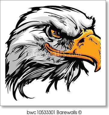 362x382 Art Print Of Graphic Head Of A Bald Eagle Mascot Vector