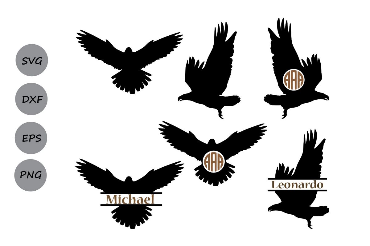 1200x800 Eagle Svg, Eagle Monogram Frames Svg, Eagle Silhouette, Eagle Cut