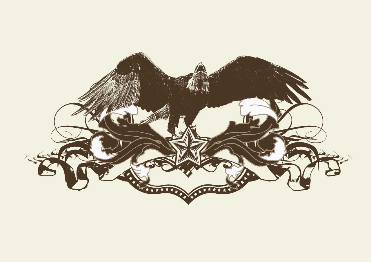 1280x905 Grunge Template With Bald Eagle Vector Free Download