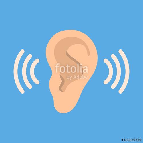 500x500 Ear Listen Vector Icon On Blue Background. Ear Vector Icon